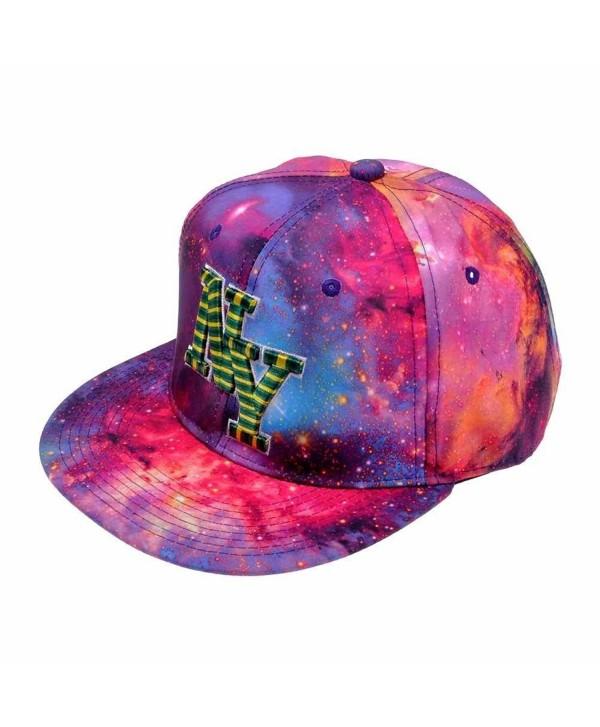 ZLYC Starry Galaxy Sky Neon Pattern Flatbill Snapback Adjust Baseball Cap Hat - Red (Ny) - CR11N9US8QD