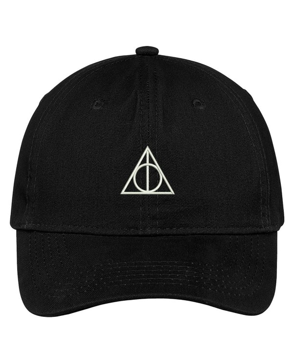 Trendy Apparel Shop Deathly Hallows Magic Logo Embroidered Soft Cotton Low Profile Cap - Black - CJ183RDITM6