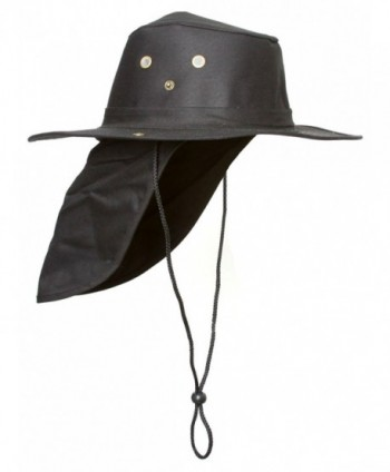 Top Headwear Safari Explorer Bucket Hat With Flap Neck Cover - Black - CY119CB6MS9