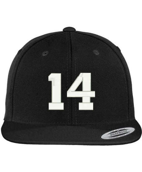 Trendy Apparel Shop Number 14 Collegiate Varsity Font Embroidered Flat Bill Snapback Cap - Black - CR12FS7YNJF
