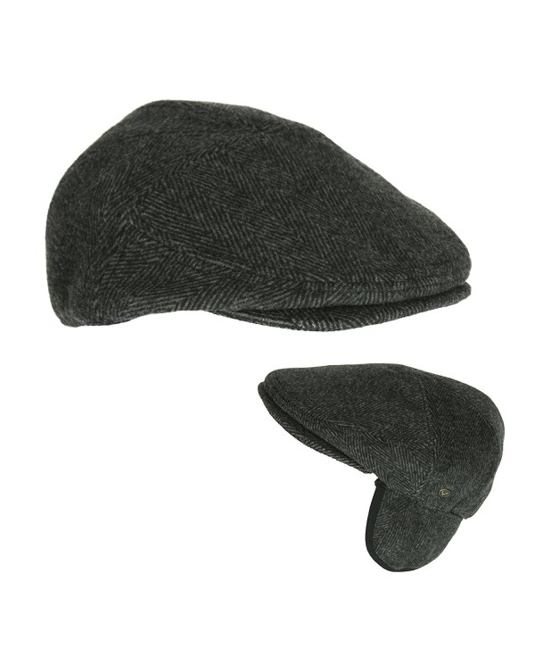 Men's Black Wool Herringbone Ivy Cap- Classic Cabbie Hat w/ Ear Flaps - CD12O4N8F79