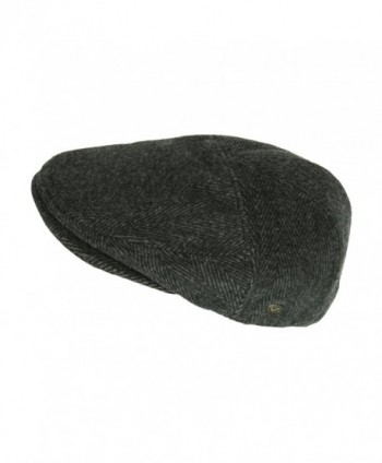 Black Herringbone Classic Cabbie Flaps in Men's Newsboy Caps