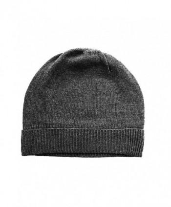Charcoal Gray Pure 100% Cashmere Beanie Hat Unisex - C9117DVCQ71