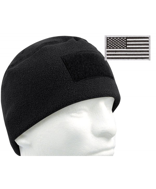 G.I. Type Tactical Polar Fleece Watch Cap and Patch Bundle - Black - CA11P3CQW5J