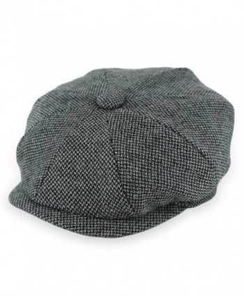 Hats in the Belfry Belfry Kolby - Herringbone newsboy Cap - Black Tweed - CE187CTK8N0