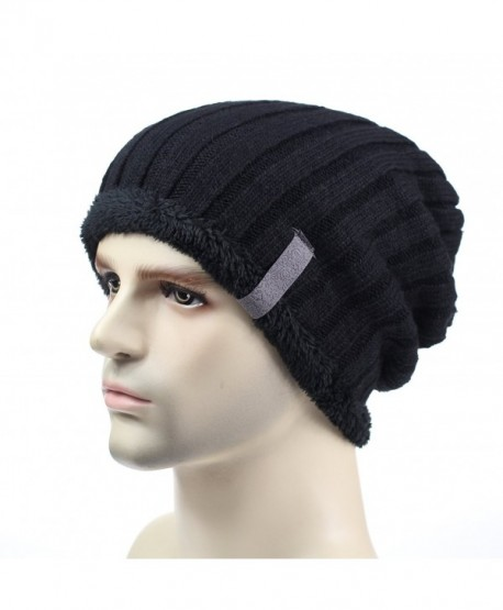 Home Prefer Mens Winter Hats Thick Cuff Beanie Slouchy Knitted Hat Skull Caps - Black - C612N8PC6G3