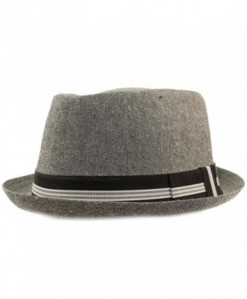 SK Hat shop Men's Linen Cotton Light Tweed Porkpie Derby Fedora Musician Jazz Hat - Gray - C617YTOTX7R