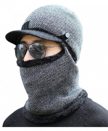 Winday Windproof Ski Face Mask Winter Hats Warm Knitted Balaclava Beanie Hat with Visor - Black1 - CE186R9C8YA