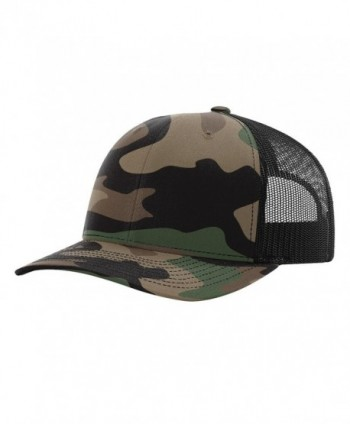 Twill Mesh Back Trucker Snapback Hat -- GREEN CAMO/BLACK - C6185Q0UEWE