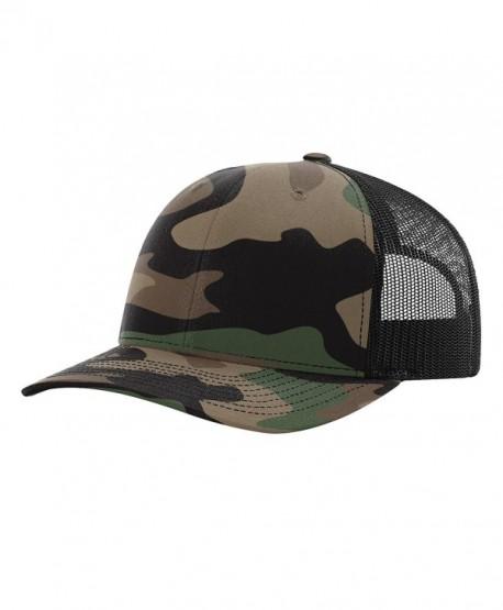 Twill Mesh Back Trucker Snapback Hat -- GREEN CAMO/BLACK - C6185Q0UEWE