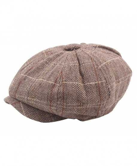 Men's Cotton Flat Ivy Gatsby Newsboy Hunting Hat Octagonal Hat Beret Cap - Coffee - CR185TO24US