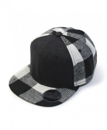 Premium Wool Blend Plaid Adjustable Snapback Baseball Cap - Heather Black/Black - C612MS8DNCP