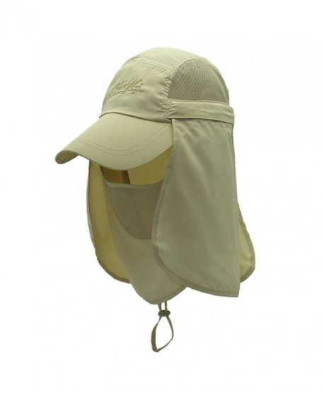 Surblue Quick-Drying Outdoor Cap UV Protection Sun Hats Fishing Hat Neck Face Flap Hat UPF50+ - Khaki - CA17Z3YIK3L