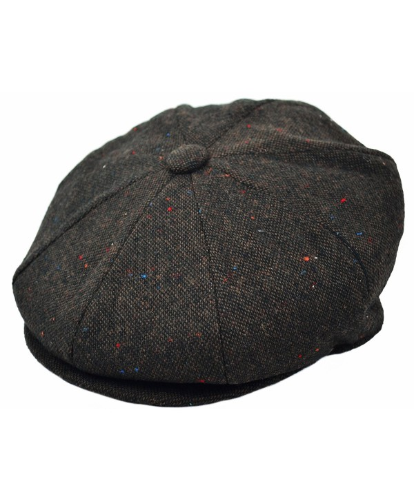 Deewang Men's Premium Wool Applejack newsboy 8 Panel Hat Snap Brim Cap - Dark Brown Tweed - CP12O481LWX