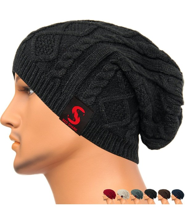 REDSHARKS Unisex Baggy Beanie Slouchy Knit Caps Skull Hats Cable Design DL1023 - Black - C6128YZ0OCD