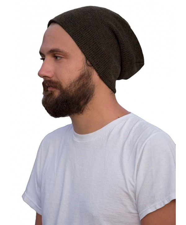 FUNKY JUNQUE's CC Men's Marled Knit Slouch Beanie - Skull Winter Hat - Olive - CT128KEXM2H