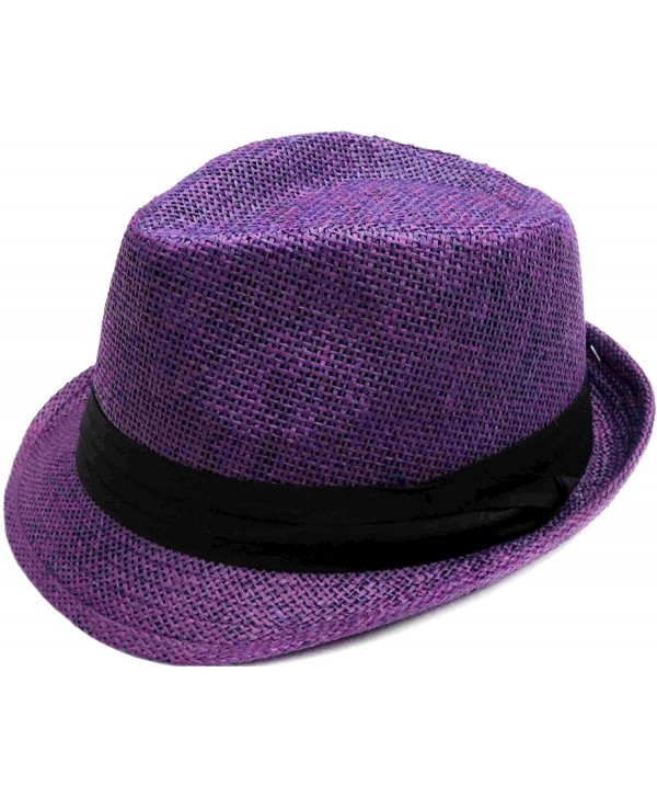 Hemantal Men/Women Classic Lightweight Straw Fedora Hat w/Band - Assorted Colors - Purple - CB180ELEU4D