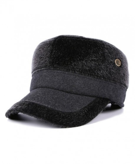 WETOO Men's Winter Woolen Tweed Peaked Baseball Cap Hats With Fold Earmuffs - Grey - C81890A25TH