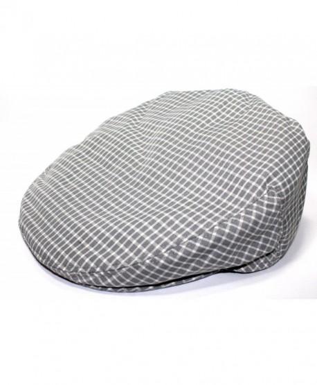 Mens Plaid Golfing Beret Summer Flat Ivy Driving Cabbie Cap Hat Ivy Newsboy - Grey Window Check - CJ11UCVXCJF
