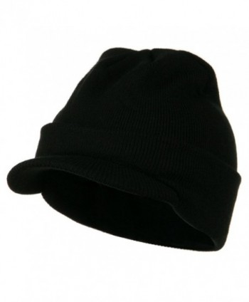 Cuff Knitted Beanie with Visor Bill - Black - CY110A3W6H3