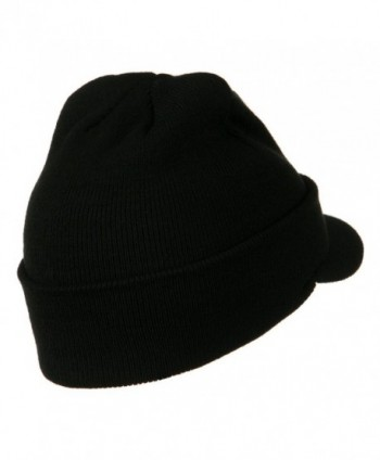 Cuff Knitted Beanie Visor Bill in Men's Skullies & Beanies