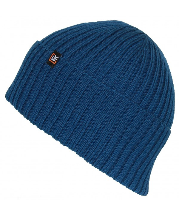 Evolution Knitwear Men's or Women's 100% Wool Rib Knit Beanie Hat - Williamsburg Blue - CK183C003DH