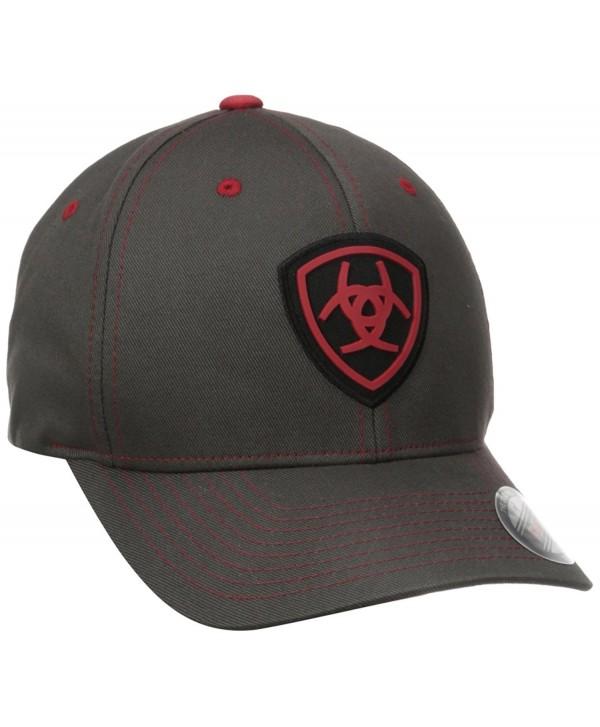 Ariat Men's Gray Red Flex Fit Hat - Gray - C011PTYP8E7
