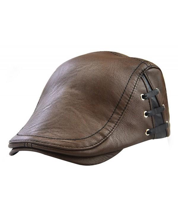YOYEAH Men's Leather newsboy Cap IVY Gatsby Flat Golf Driving Hunting Hat - Brown-1 - C5186GQAK74