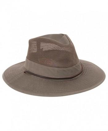 Dorfman Pacific CO. Men's Garment Washed Twill Safari With UV Mesh - Green - C3113409LB9