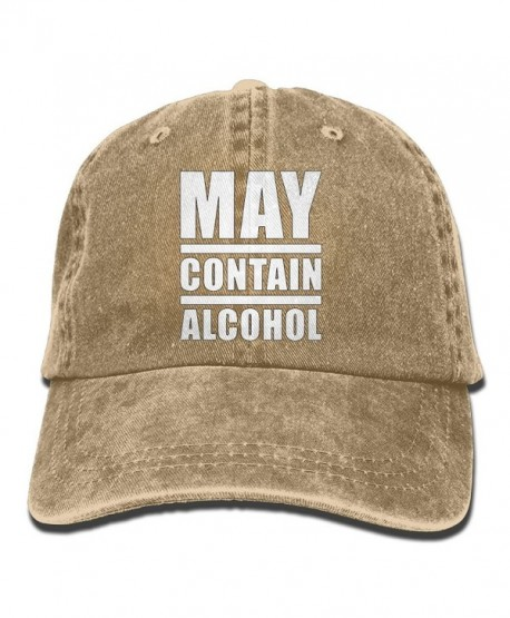 Unisex May Contain Alcohol Yarn-Dyed Denim Baseball Cap Adjustable Outdoor Sports Cap For Men Or Women - Natural - CT187CRI4E3