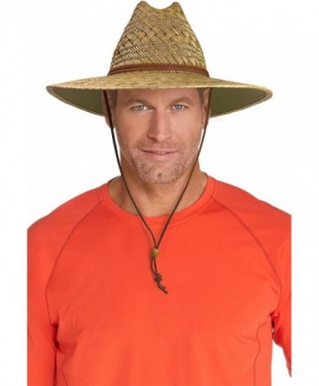 Coolibar UPF 50+ Men's Straw Beach Hat - Sun Protective - Natural - CP12EGDDU37