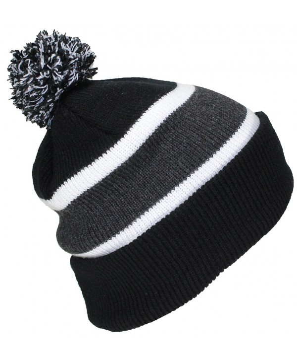 Best Winter Hats Quality Cuffed Cap with Large Pom Pom (One Size)(Fits Large Heads) - Black/Darkgray - CF11J4LWUSD