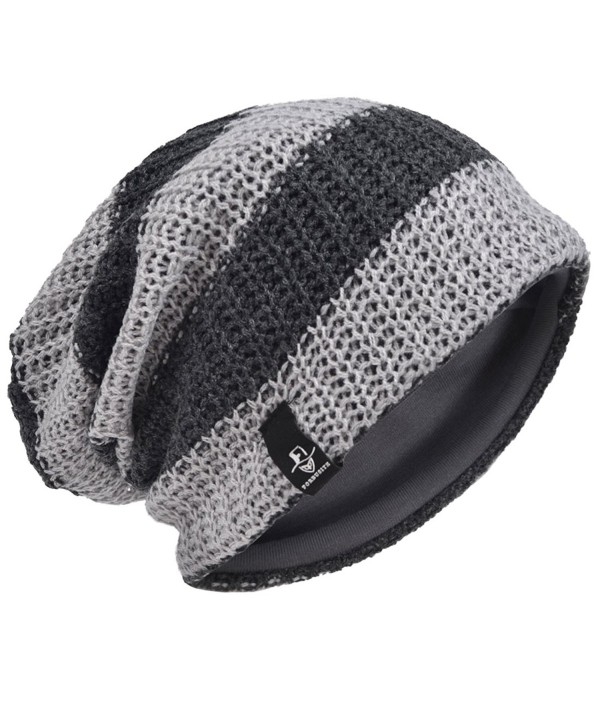 Men's Retro Beanie Slouchy Knit Skull Cap Winter Hat B5001-G - Stripe-light Grey - C212O6COSRM