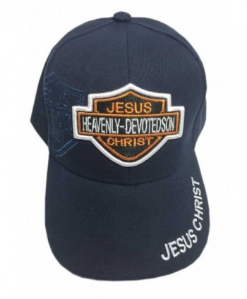"Aesthetinc Christian Baseball Cap Embroidery ""Jesus Christ Heavenly Devoted Son"" ""Jesus Christ"" - Navy Blue - C71286PH8H5"
