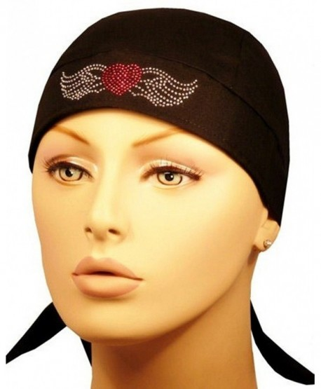 Rhinestud Skull Cap - Biker Caps Red Heart w/Wings on Black Headwraps Doo Rags - CV12ELHNR27