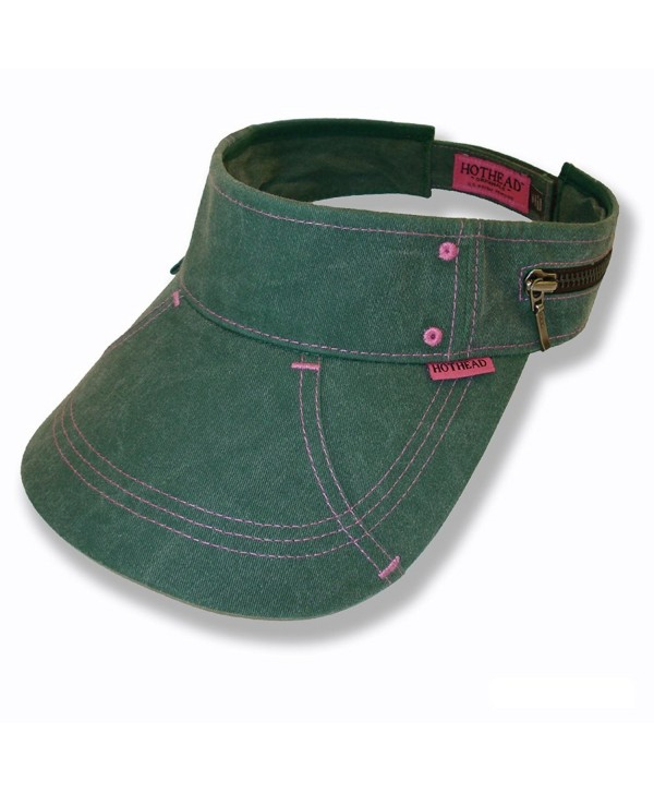 Hothead Large Brim Sun Visor Hat - Biowash in Green - CI112HRL6OF