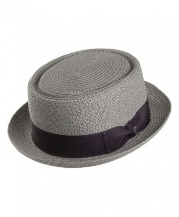 Jaxon Hats Toyo Braid Pork Pie Hat - Grey - CB11JQQTCKZ