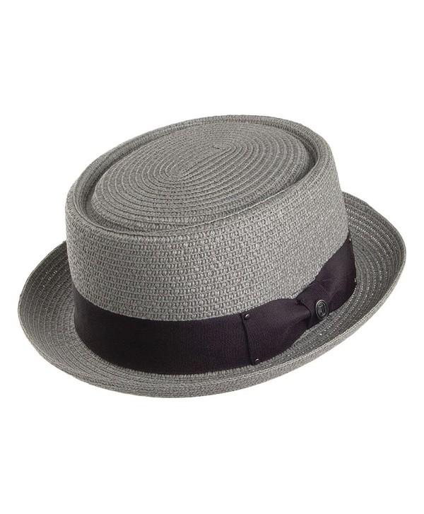 Jaxon Hats Toyo Braid Pork Pie Hat - Grey - CB11JQQTCKZ