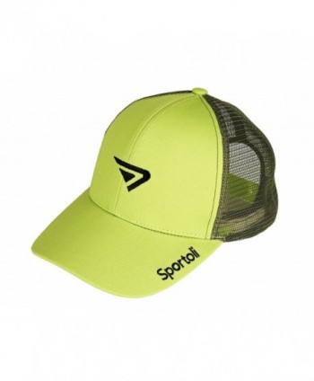Sportoli Adult and Kids Cotton Blend and Mesh Snapback Trucker Baseball Cap Hat - Lime - C6127DEQ551
