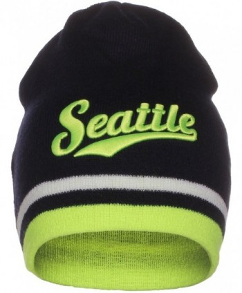 American Cities USA Sports City State Cuffless Beanie Knit Hat Cap - Seattle Navy/Neon Green - CB12O1COVWE