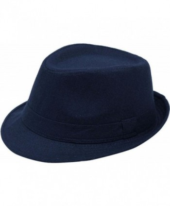 Fashion Wear Manhattan Fedora Hat Design for Men - Navy - C911FQZX6GV