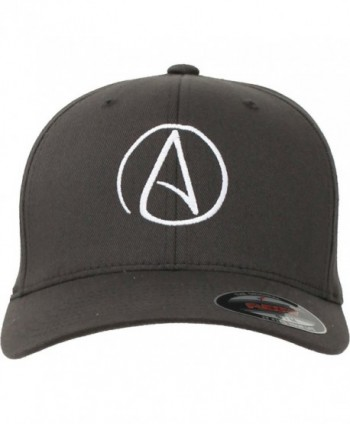 Atheist Centered Symbol Flexfit Baseball Hat - Grey - CJ11L1RO5HH