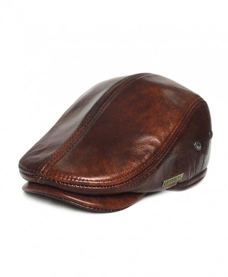 LETHMIK Flat Cap Cabby Hat Genuine Leather Vintage newsboy Cap IVY Driving Cap - Yellow Brown - CL1282PFHAD