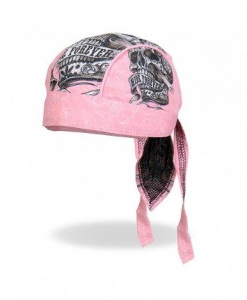 Sugar Muerte Calavera Skull Banner Ride Forever Pink Head Wrap Durag Skull Cap Biker - CR12DAAMIPL