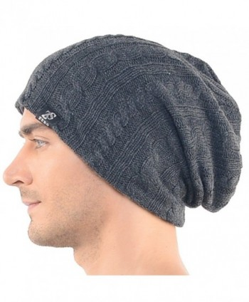 Stylish Men's Cable Knit Slouchy Beanie Unisex Daily Hat - Dark Gray - CH126T3R73L