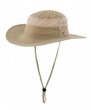 Connectyle Outdoor Mesh Sun Hat Wide Brim Sun Protection Hat Fishing Hunting Hiking Hat - Dark Khaki - CN12EK9XOKV