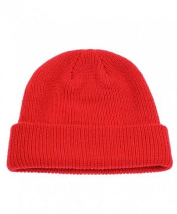 Connectyle Classic Men's Warm Winter Hats Acrylic Knit Cuff Beanie Cap Daily Beanie Hat - Red - CV12MX88E0E