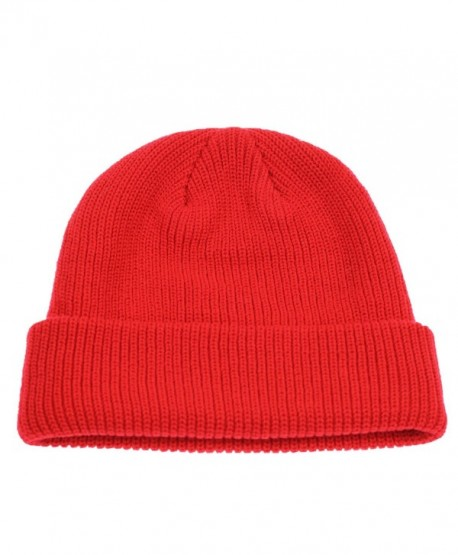 917e5545b01 Connectyle Classic Men s Warm Winter Hats Acrylic Knit Cuff Beanie Cap Daily  Beanie Hat - Red