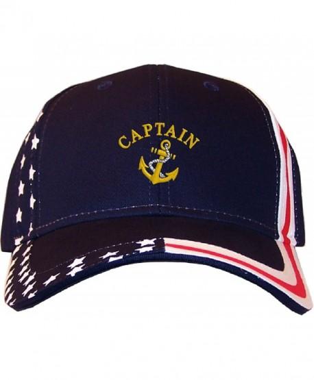 Spiffy Custom Gifts Captain Embroidered Stars & Stripes Baseball Cap Navy - CM12EDNLPUP