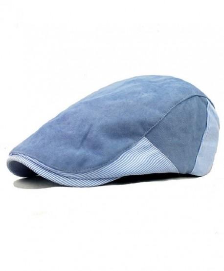 Shuohu Men's Plaid Ivy Cotton Newsboy Cap Golf Style Strip Peaked Beret Hats - Blue - C112M7YFJF9